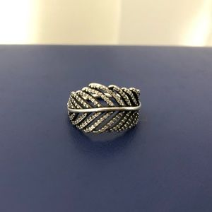 PANDORA Feather Silver Ring size 7